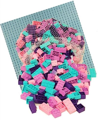 Image of 1kg Bricks & Pieces – Bubble-gum Bricks & Light Blue Baseplate