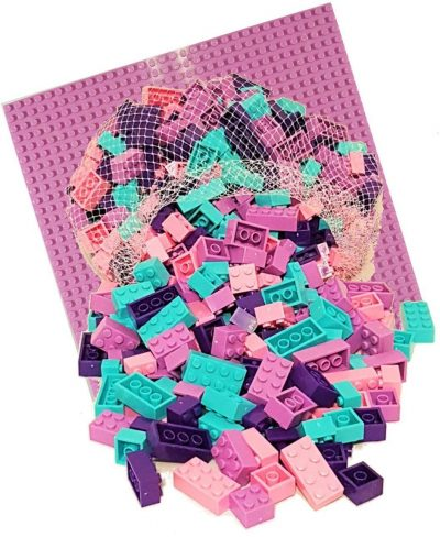 Image of 1kg Bricks & Pieces – Bubble-gum Bricks & Pink baseplate