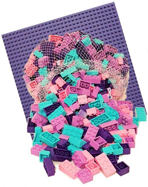 Image of 1kg Bricks & Pieces – Bubble-gum Bricks & Purple baseplate