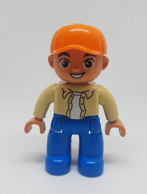 Image of boy orange cap beige top
